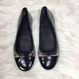 Tory Burch Grey and Black Snakeskin Ballet Flats